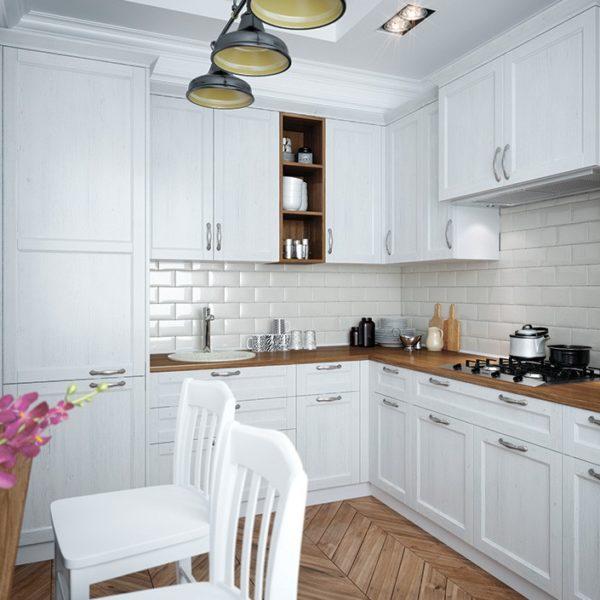 Угловая белая кухня прованс