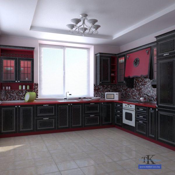 Угловая тёмная классическая кухня