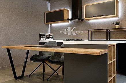 П-образная комбинированная современная кухня